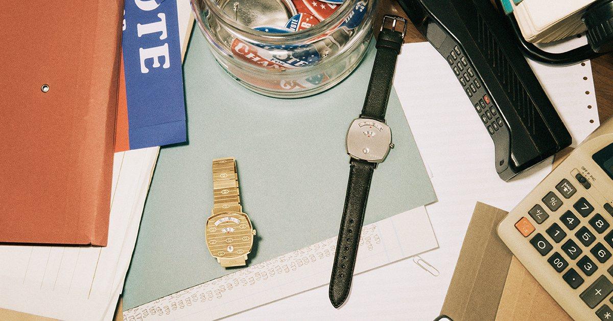 GUCCI GRIP系列腕表設計洋溢復古,靈感來自滑板運動。圖/古馳提供
