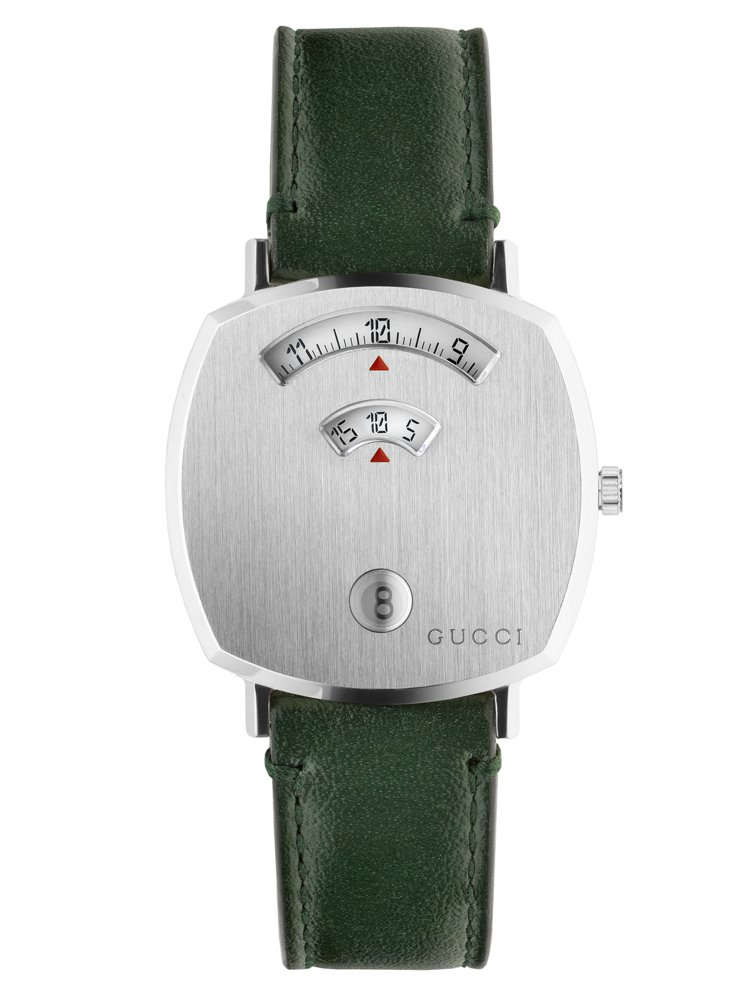 GUCCI GRIP 35毫米不鏽鋼表殼搭配綠色皮革表帶,46,000元。圖/古...