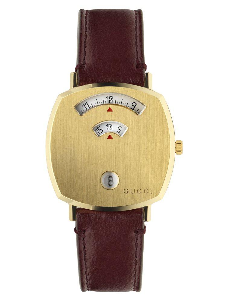 GUCCI GRIP 35毫米金黃色PVD表殼搭配酒紅色皮革表帶,50,000元...