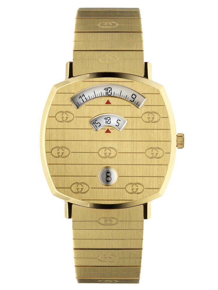 GUCCI GRIP 35毫米金黃色PVD鐫刻GG圖案表殼及表帶,56,000元...