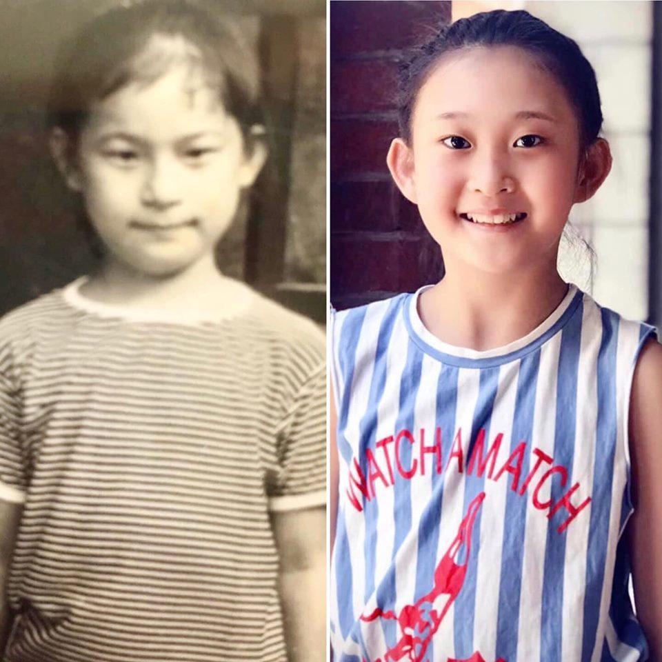 左邊照片為議員宋瑋莉本尊,是她54年前舊照,右側為宋瑋莉的長孫女照片,年僅10歲...