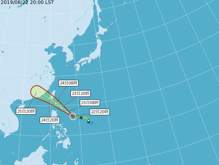 輕度颱風白鹿路徑圖。圖/取自氣象局