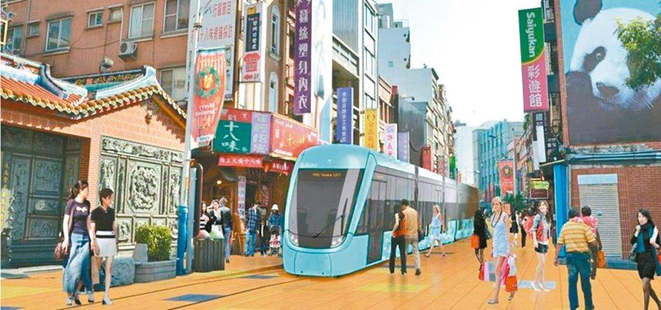 淡海輕軌未來要開進老街,將不架設空線,以電池行駛,維持老街景觀。圖為示意圖。 圖...