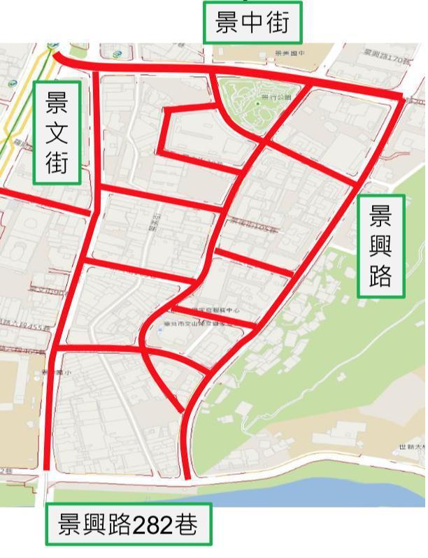 9月2日起景美夜市周邊共1170格機車停車格將開始實施收費。紅線部份為將收費路段...