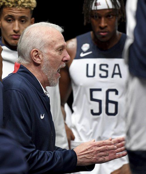 美國男籃隊教頭波波維奇。 美聯社
