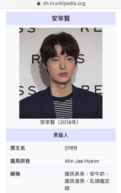 安宰賢暱稱被網友亂改,日前已恢復正常。圖/擷自維基百科