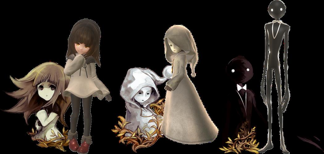 遊戲角色由左至右為小女孩、面具女孩以及Deemo。