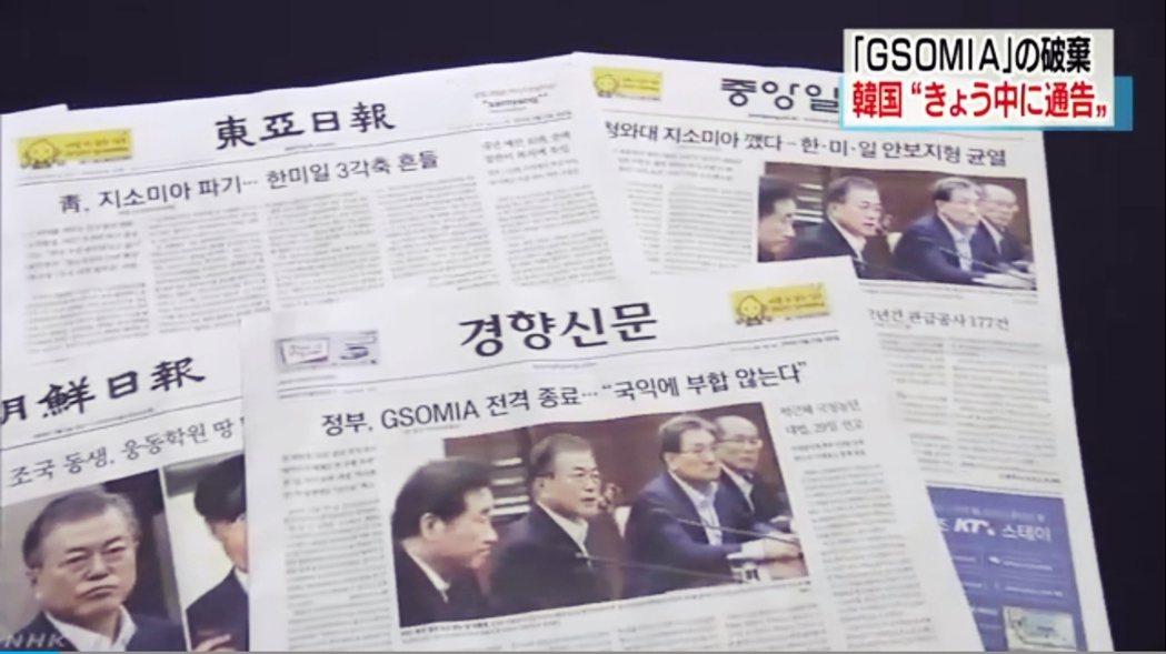 「撕毀GSOMIA協定」的斗大標題,在23日佔據了日韓兩國各大新聞頭條。GSOM...