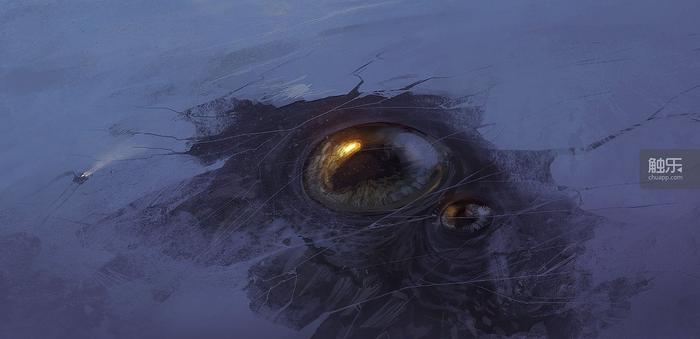 《Sunless Sea》玩家Corvus的藝術作品。和海下潛伏的巨大生物相比,...