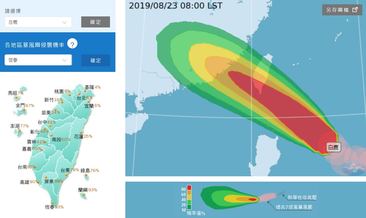 一張圖看各縣市遭白鹿颱風侵襲機率。圖/中央氣象局提供