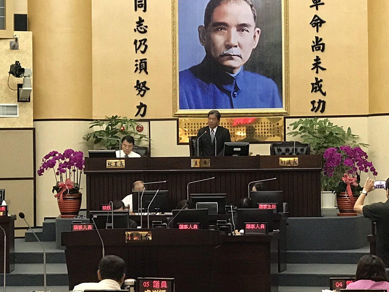 針對反送中抗爭,台南市議會今天通過對香港政府及中華人民共和國的譴責案。記者鄭維真...