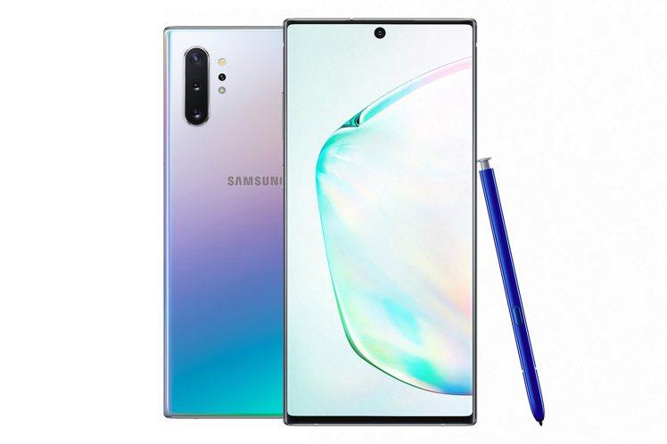 三星Galaxy Note10系列主打色星環銀,兩種尺寸預購銷售狀況都最熱烈。圖...