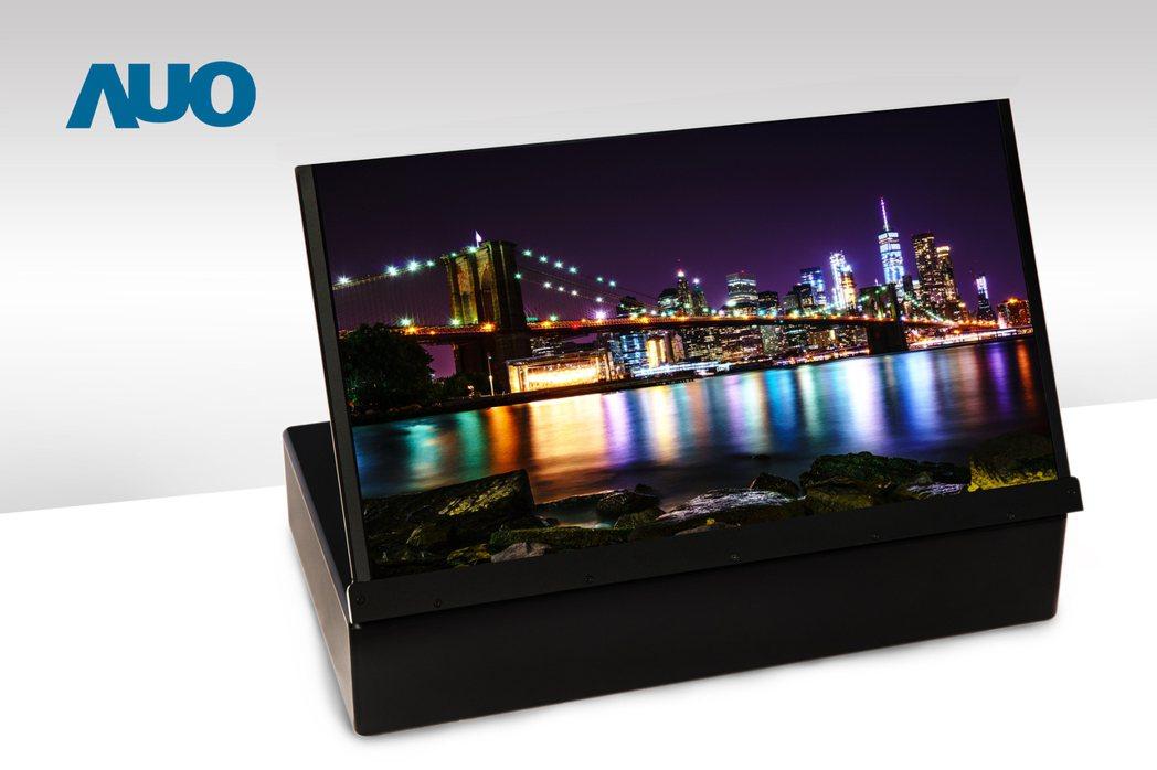 友達17.3吋UHD 4K噴墨印刷OLED顯示技術。圖/友達提供