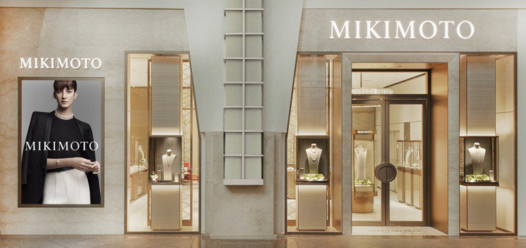 旗艦店的主牆面為法國手工製作的金屬織布。圖/MIKIMOTO提供