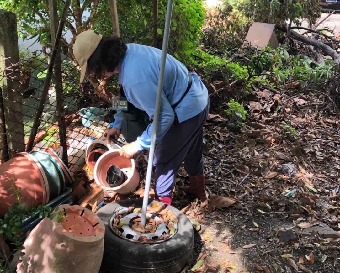 高雄市衛生局加強各處病媒蚊孳生源清查。圖/高雄市衛生局提供
