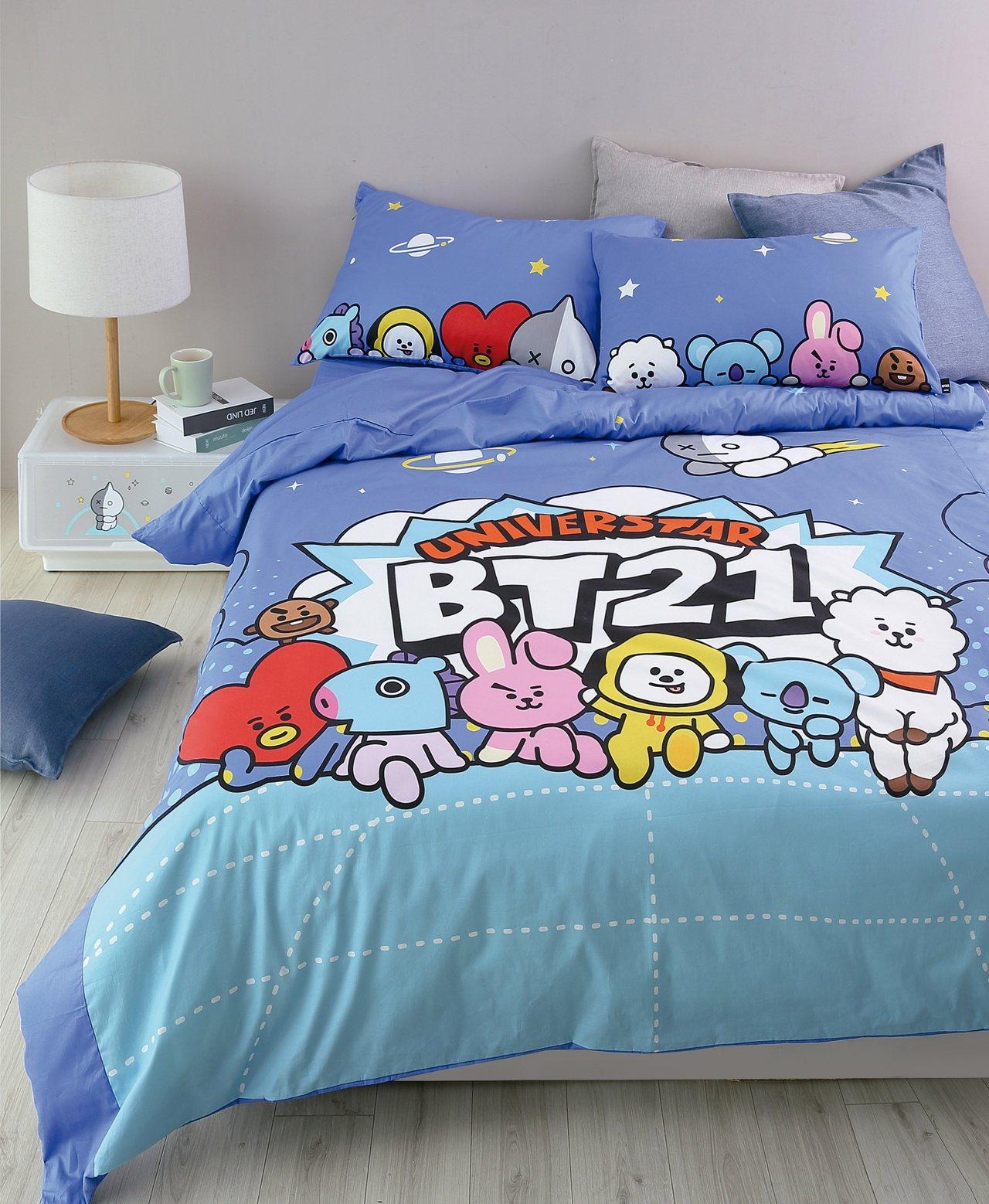BT21純棉床被組,單人售價3,580元、雙人售價3,980元。圖/HOLA提供