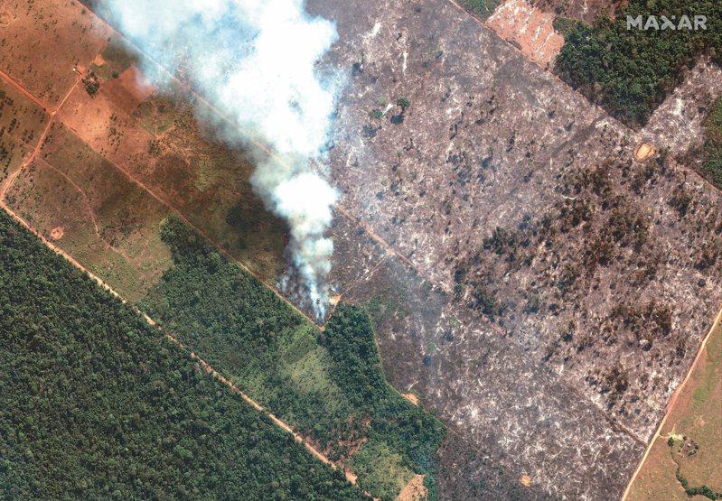 南美洲野火範圍擴大,巴西亞馬遜雨林區災情尤其嚴重。圖為巴西國家太空研究所的空拍照,顯示韋柳港市大片森林已被焚毀。 美聯社