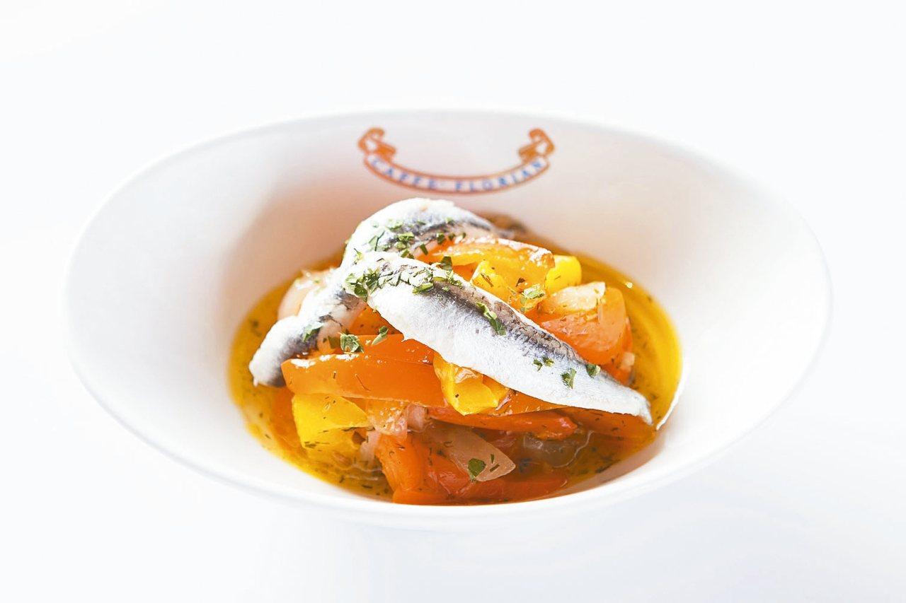 茴香甜椒醋醃鯷魚。 圖/福里安花神餐廳提供