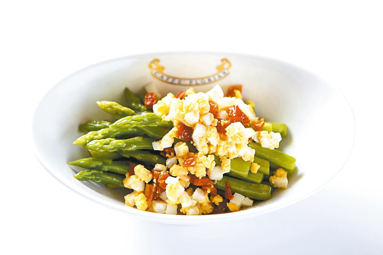 奶油蘆筍及蛋碎。 圖/福里安花神餐廳提供