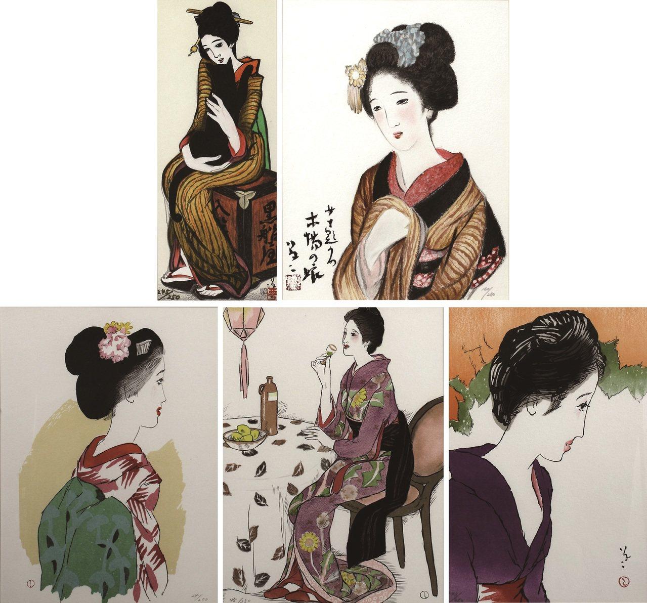 日本竹久夢二的現代仕女浮世洋繪系列。圖/新象提供