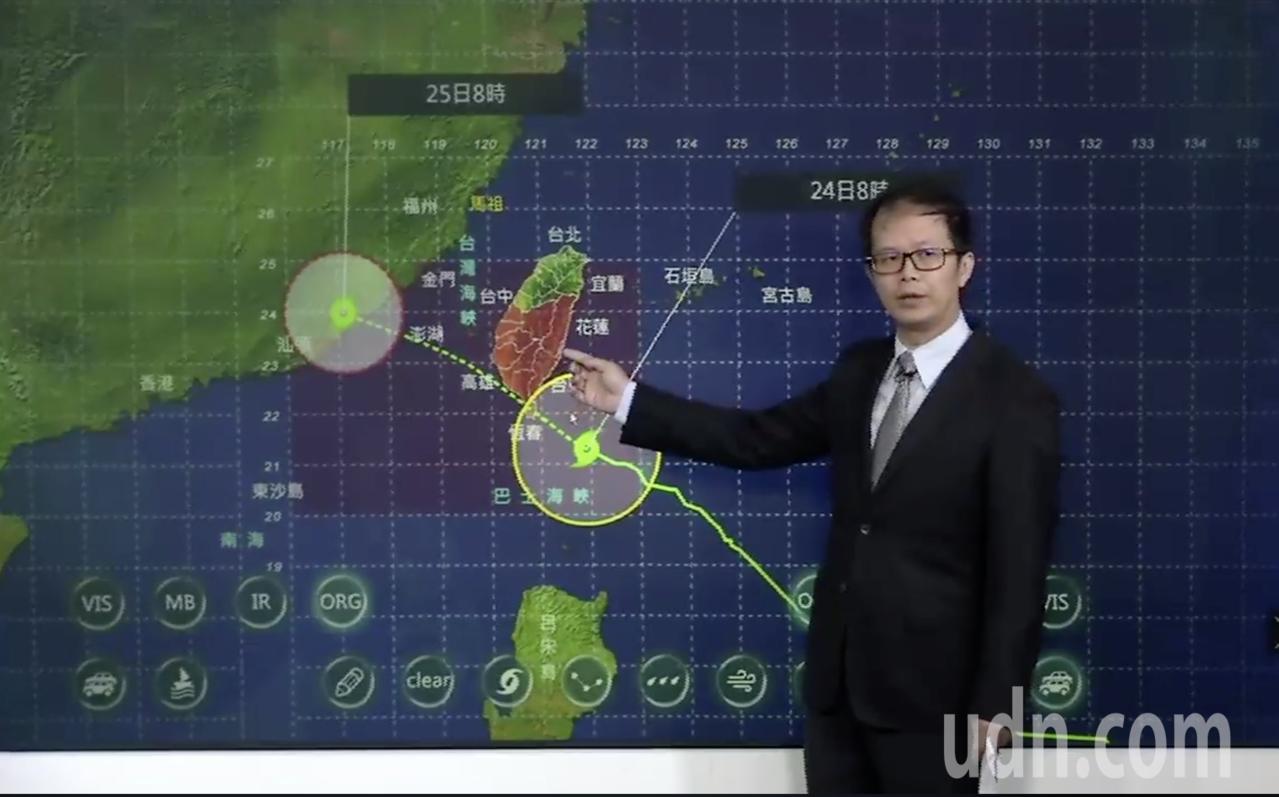 中央氣象局今天說,輕度颱風白鹿的暴風圈上午已碰觸台灣陸地,目前預估中心登陸地點以...