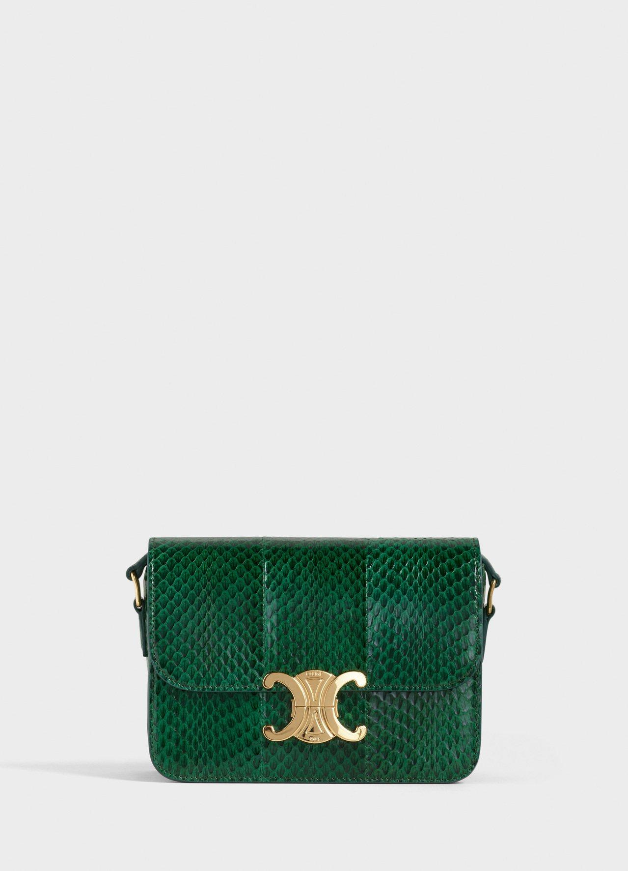 Triomphe孔雀綠水蛇皮小型肩背包,售價12萬元。圖/CELINE BY H...
