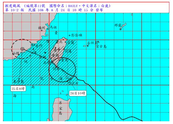 中央氣象局表示,白鹿颱風行進路線略往南移,以每小時26公里速度,向西北進行,預估...