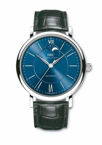 IWC柏濤菲諾月相自動腕表,40毫米精鋼表殼,21萬4,000元。 圖/萬國表提...