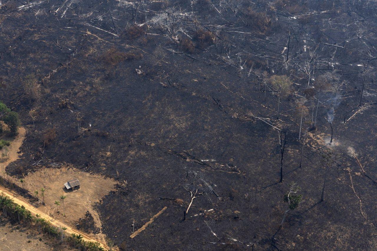 巴西西部韋柳港附近一處房屋周圍土地23日歷經大規模野火,土地被燒得焦黑。 (美聯...