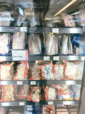 冷凍加工漁產製品在馬國Cold Storage超市販售。 商研院/提供