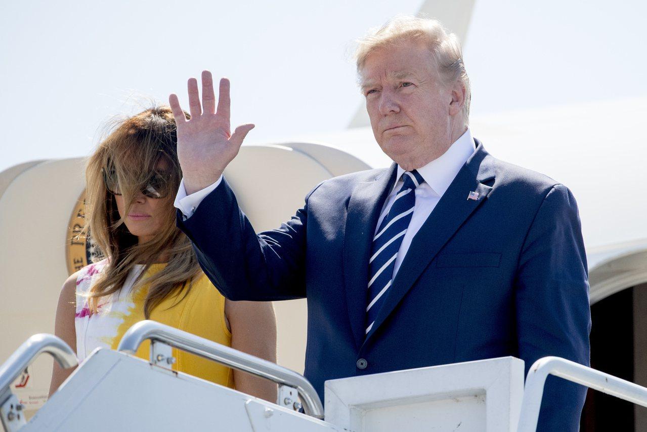 美國總統川普與其夫人前往法國參加G7峰會。美聯社