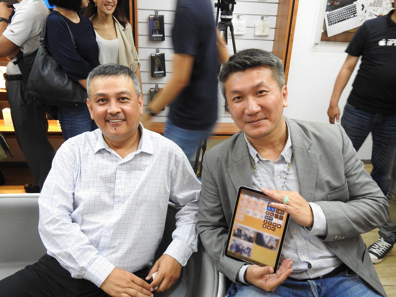 釩創科技董事長鄭清汾(左)與總經理吳學明(右)。記者林宸誼/攝影