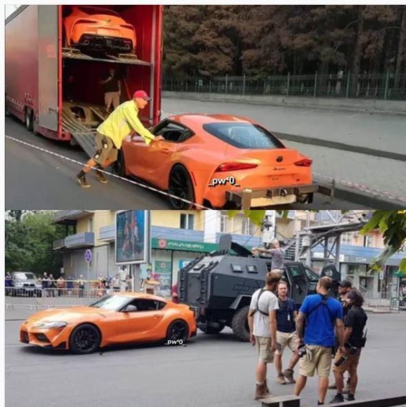 橘色的Supra出現在玩命關頭9拍攝現場。 摘自Instagram:_pw40_