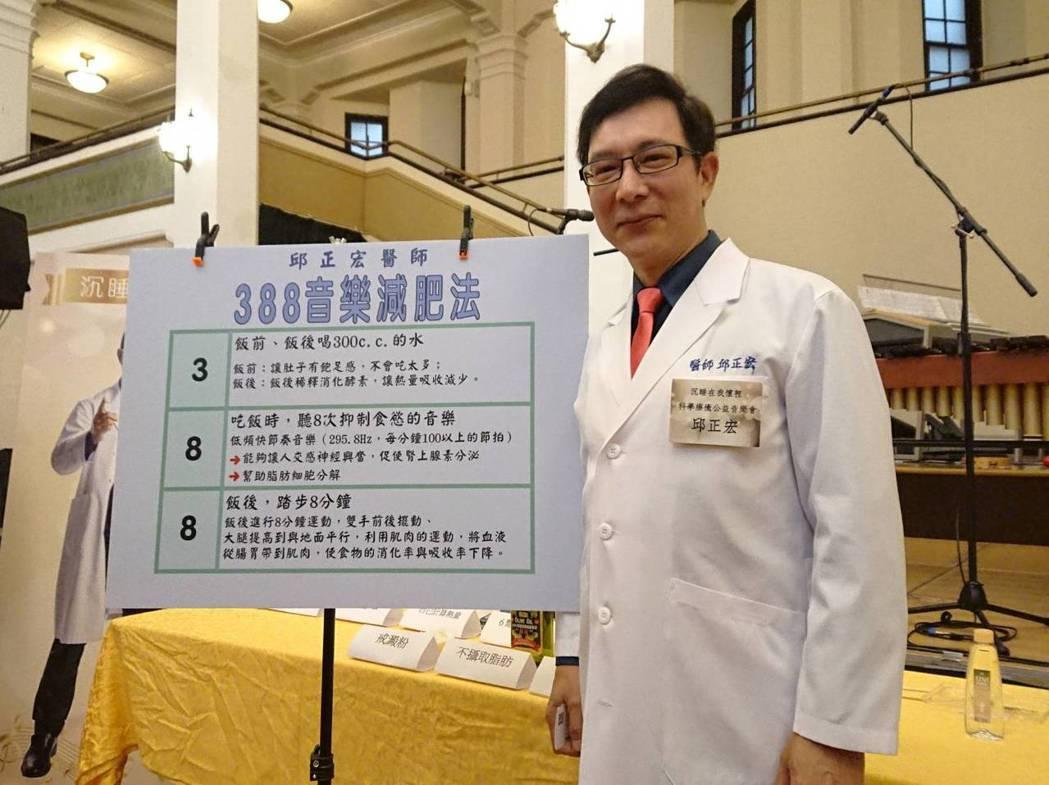 邱正宏醫師研究自創「388音樂減肥法」,提倡一般民眾都可簡單實行。蘇璽文/攝影