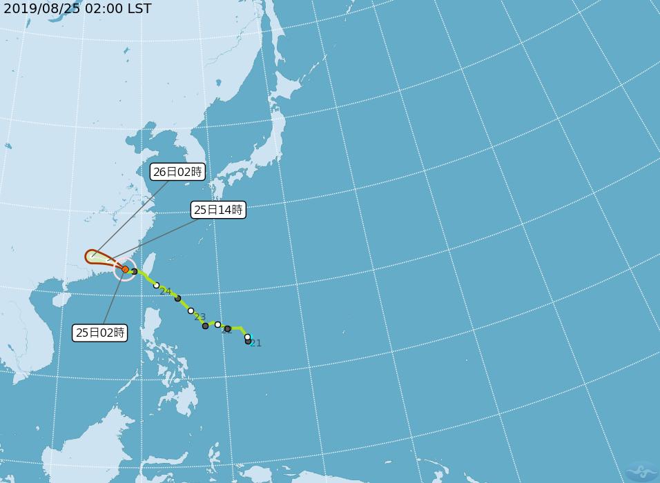 白鹿颱風路徑潛勢。圖/取自氣象局網站