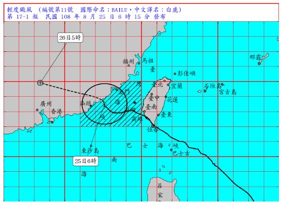白鹿颱風上午6時的中心位置在金門的西南方約130公里海面上,以每小時19公里速度...