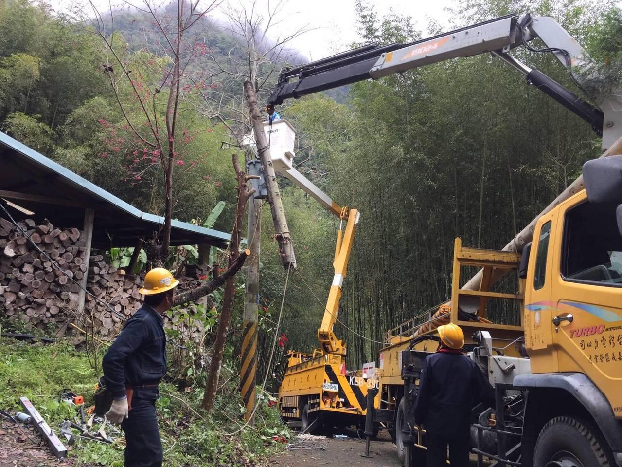 白鹿颱風大雨造成阿里山鄉達邦、里佳等山區,多處電桿斷損,台電嘉義區營業處派員搶修...