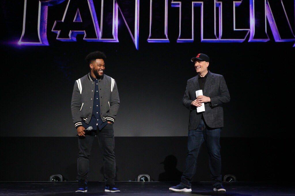 漫威總裁凱文費吉(右)與「黑豹」導演萊恩庫格勒宣告「黑豹2」將於2022年上映。...