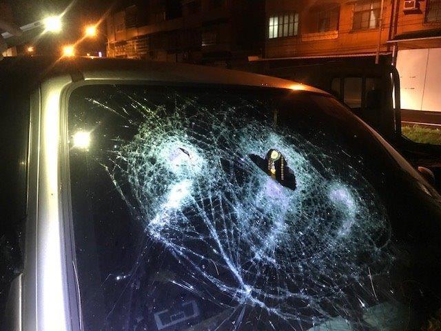 高大樹枝從半空中落下,車子擋風玻璃因此受損。記者徐白櫻/翻攝