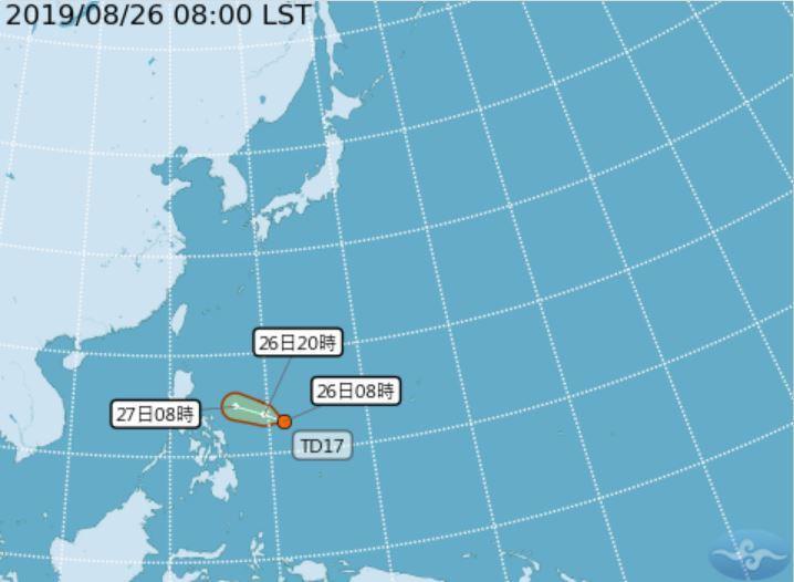 菲律賓東方的低氣壓,今天上午8時升級為熱帶性低氣壓。圖/中央氣象局提供