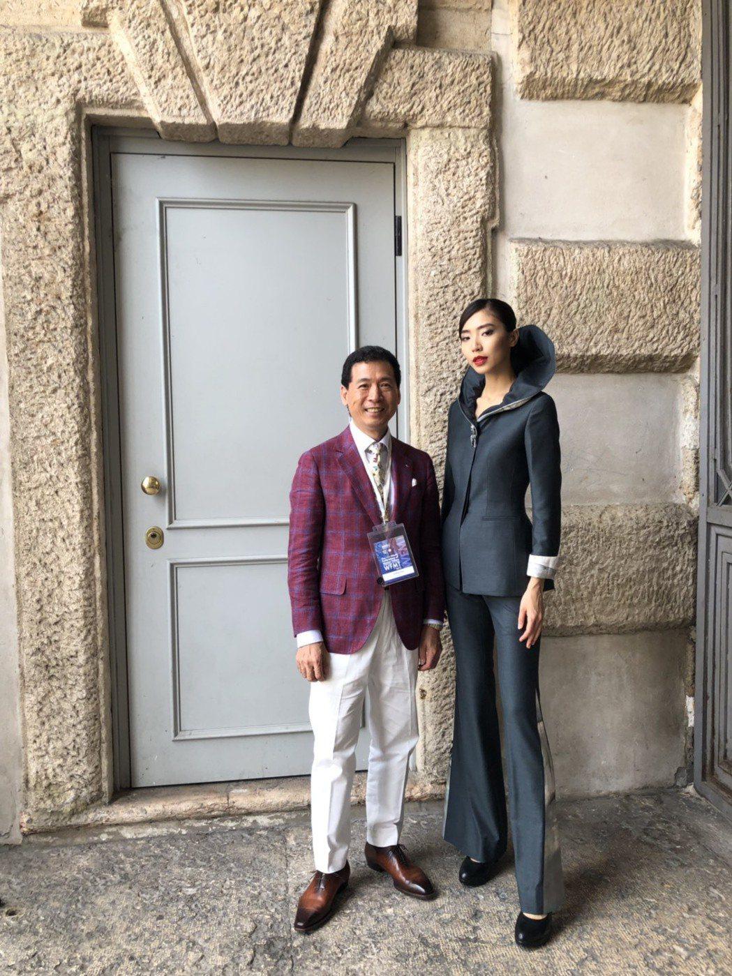 格蘭西服設計總監陳和平(左)摘下世界女裝創意設計評比金首獎。