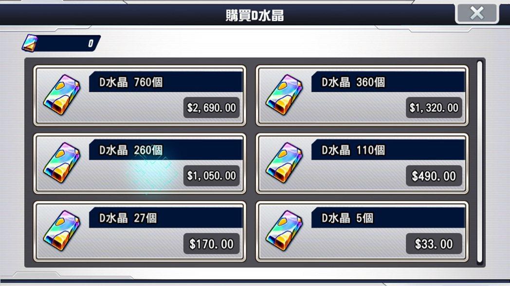 遊戲中得要有水晶才能進行抽卡,但價格是真的蠻高的。都快可以買單機版遊戲了。