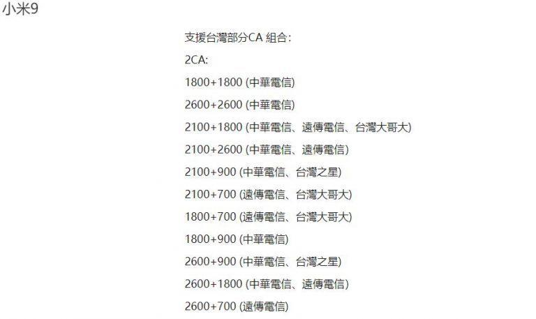 ▲網路頻段支援數( 圖一為小米 9T Pro、圖二為小米 9 )