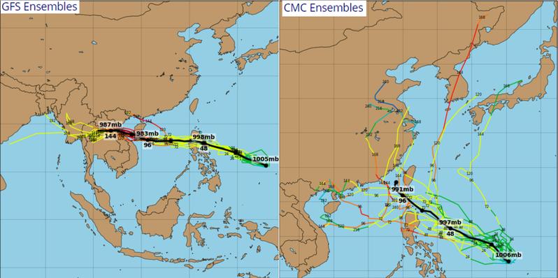 最新各國系集模式模擬的路徑分歧,有因模擬的太平洋高壓較強,東風導引西進,穿過呂宋島而進入南海(左圖),也有因模擬的太平洋高壓較弱,部分模擬路徑受偏南風導引北轉,而與台灣相距有的遠、有的近(右圖)。圖/取自tropical tidbits,「三立準氣象·老大洩天機」專欄