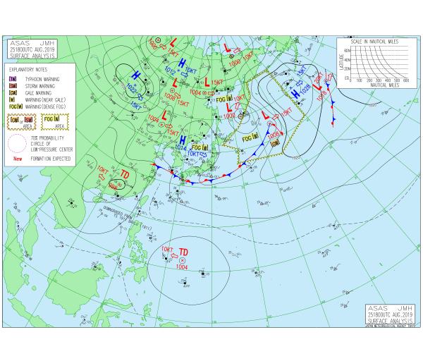 日本氣象廳已將菲律賓東方海面的低壓帶標註為熱帶性低氣壓。圖/取自氣象廳官網