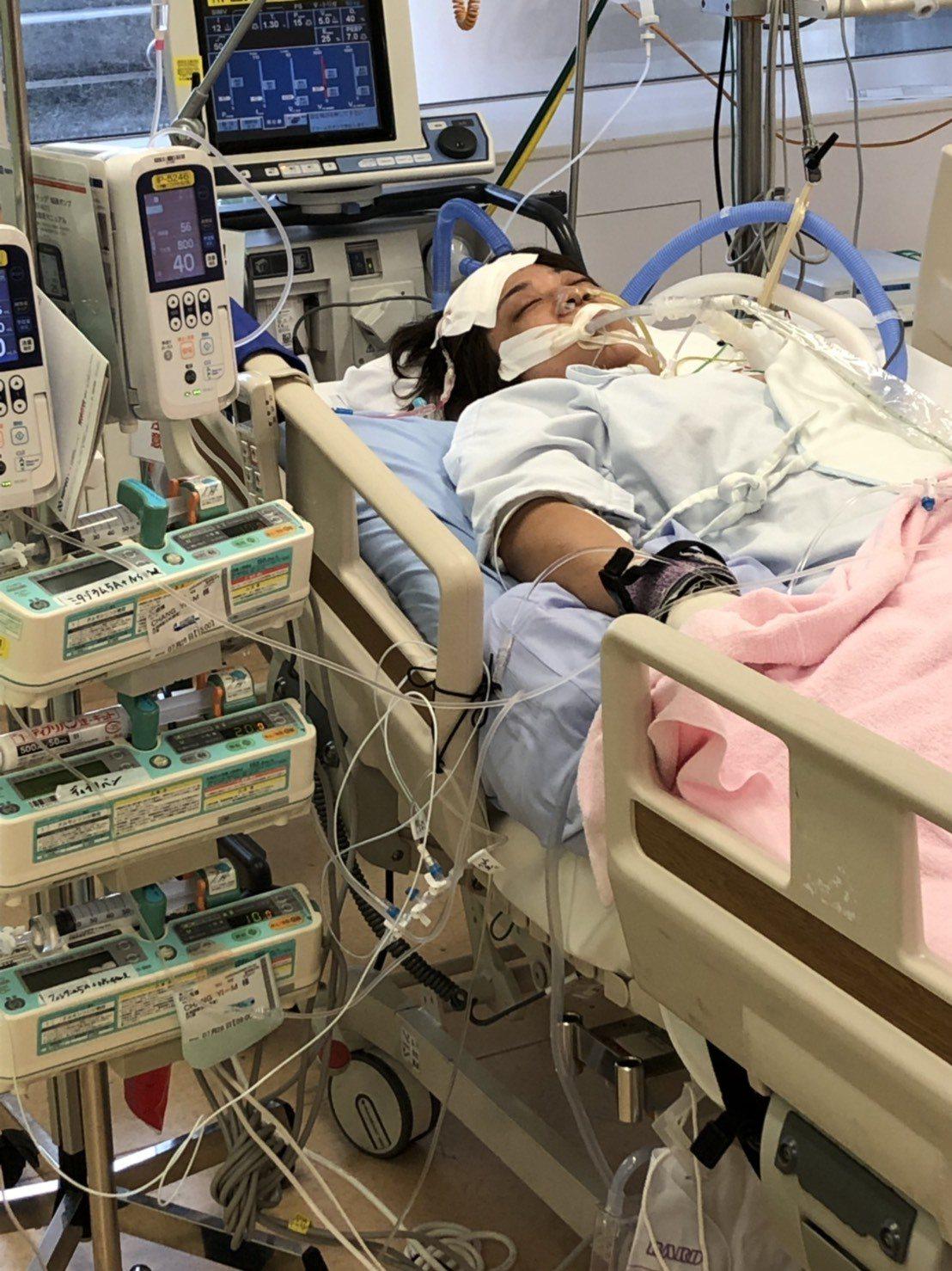 台中市婦人張翊湄因腦血管瘤破裂傷重滯日。圖/楊琮閔提供