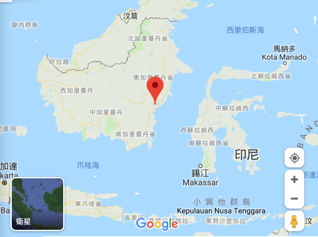 印尼預定新首都位於東加里曼丹省。圖/擷自Google Map