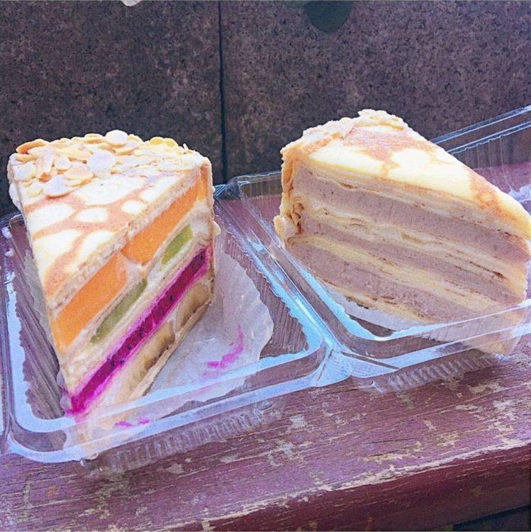 「Gather cafe食聚」水果千層跟芋泥千層,是招牌甜點。IG @shinn...