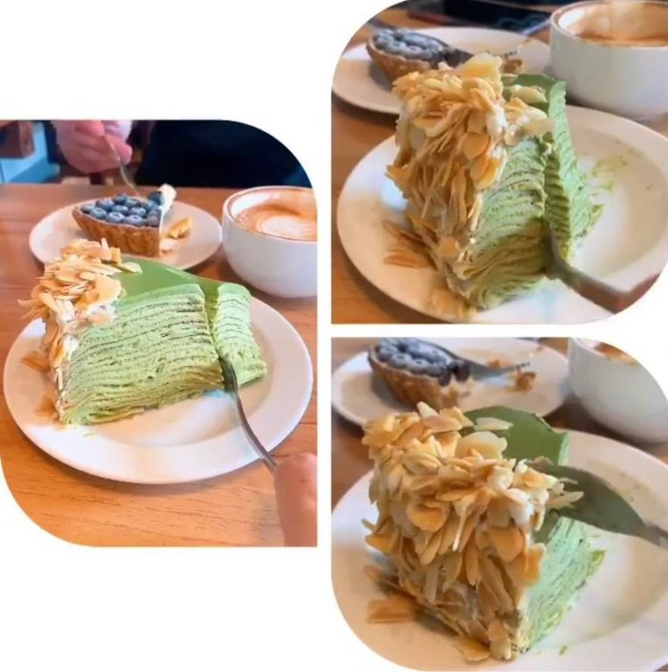 「Gather cafe食聚」抹茶千層口感層次豐富。IG @_.shuangsh...