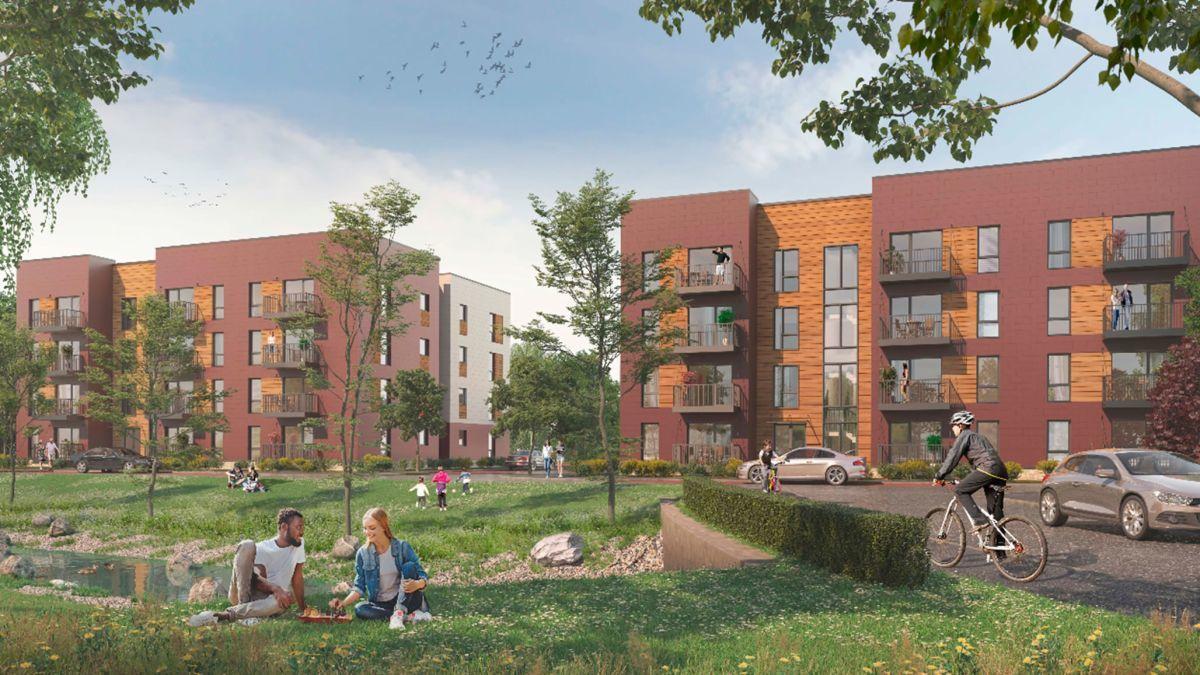 英國沃辛市Boklok平價住宅示意圖。圖/取自CNN